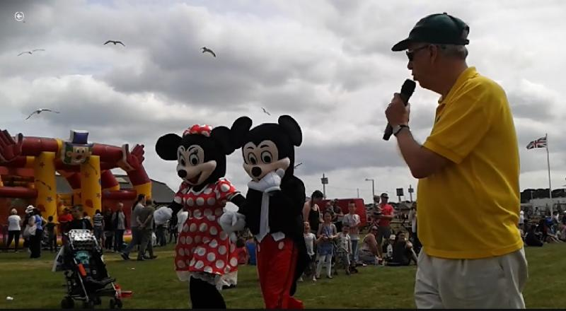Family Fun Day - 26th June 2016 at Queen's Park - Mickey & Minnie holding hands during the race!
