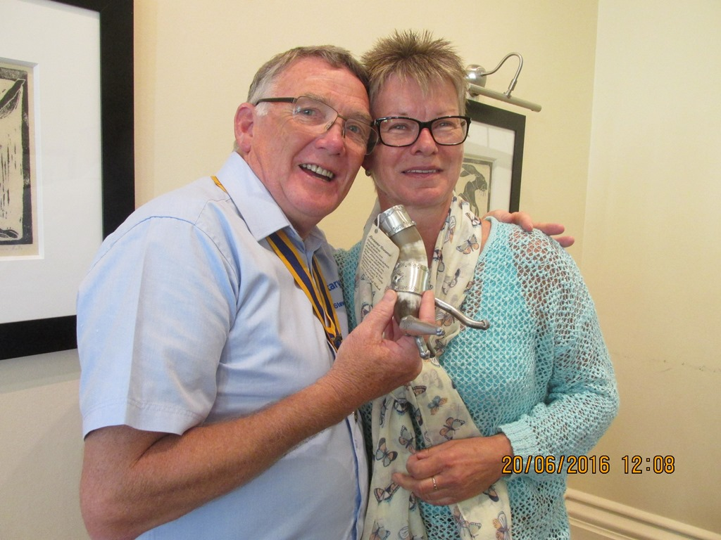 Visit from Odal Rotary Club, Norway - 38 Gift of a Drinking horn from Odal