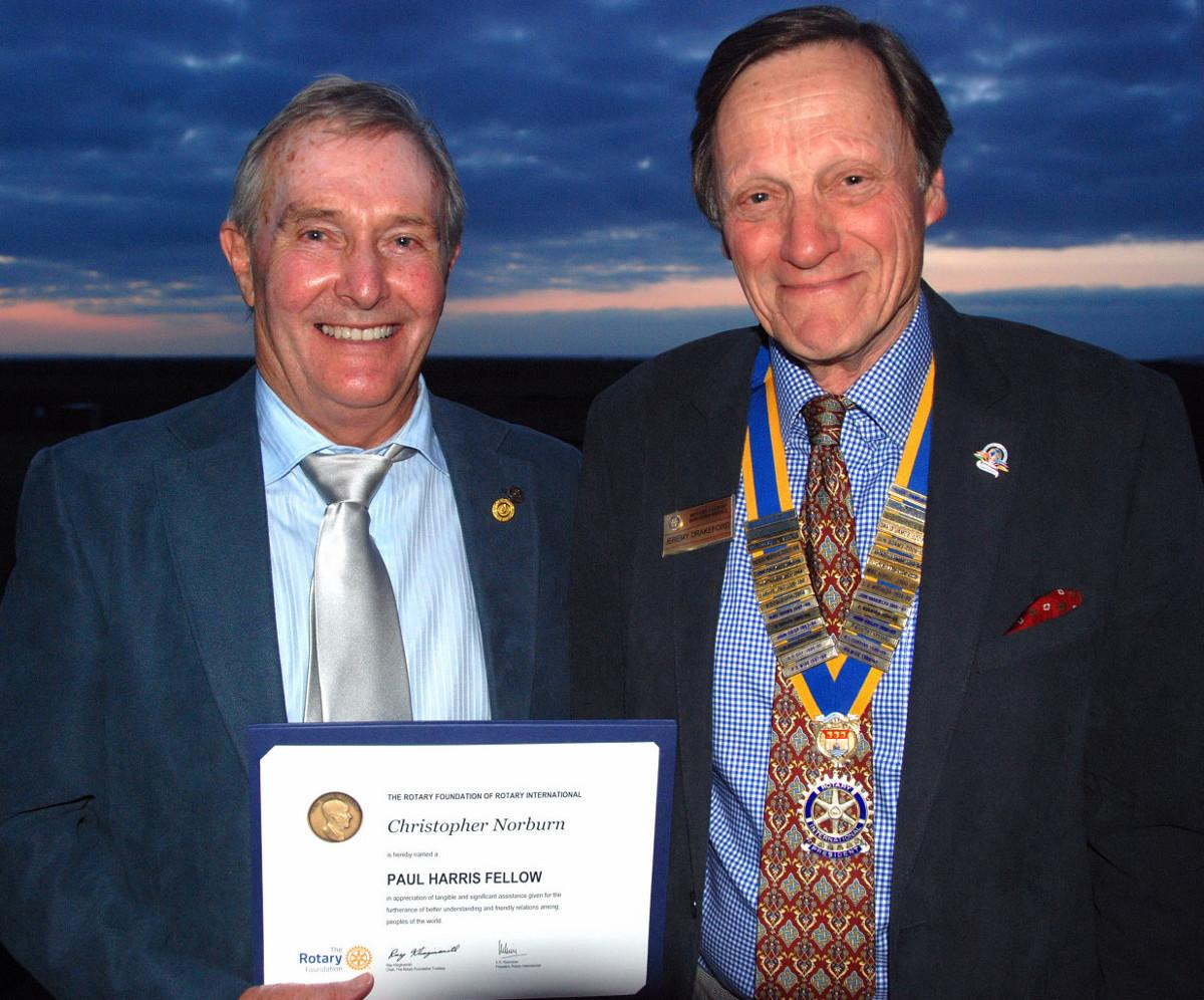 2015-16 Rotary Year - Our Club's Speaker Finder for very many years - Chris Norburn - receives The Paul Harris Fellowship award from President Jeremy