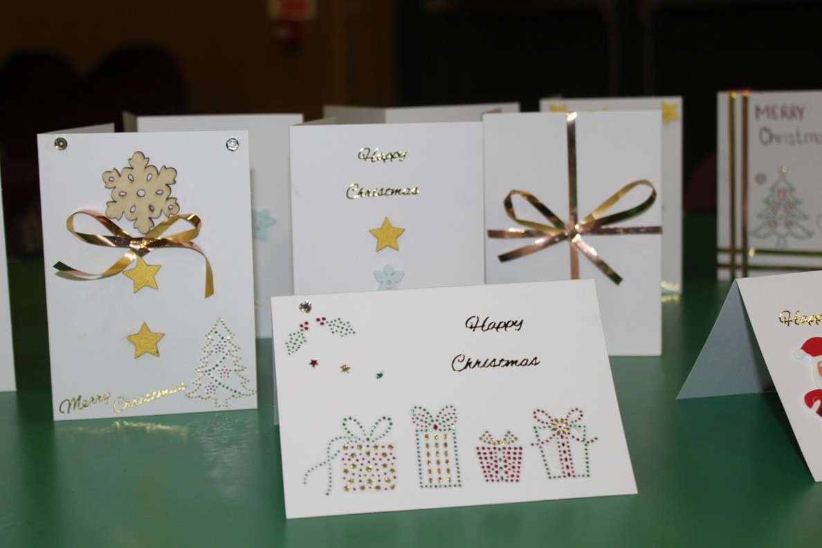 Highfield Leadership Academy Christmas Tea Party for elderly residents. - The students made Christmas cards so all those attending received a personal card.