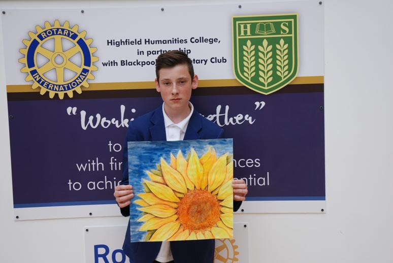 ROTARY YOUNG ARTIST 2015 -2016 - Jay's picture was called 'Mid Summers Day'.