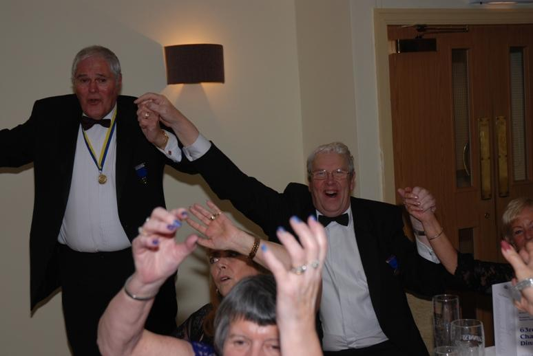 CHARTER DINNER 2015 - Even Master of  Ceremonies Jeff joined in although he would have preferred a ladies hand!