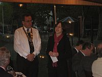 Lord Mayor's Visit -  Karen Wills from the Children's Hospice South West accepts a cheque from the Club.  This charity is one of the Club's major recipients this year.