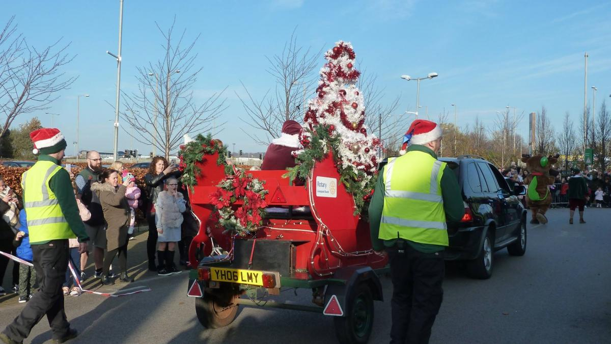 CAROL WAGON 2018. - Father Christmas on his way into Dobbies.
