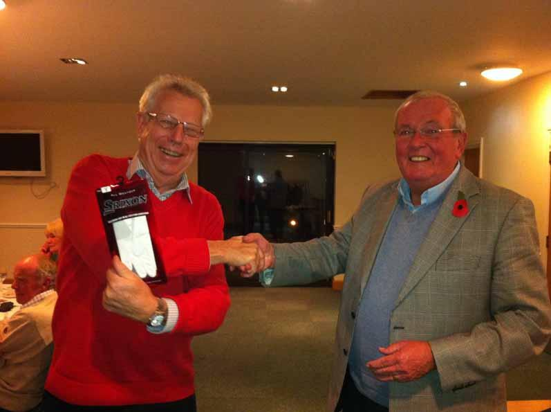 5 November 2012 - Chris is ROAGS trophy winner - Dieter takes prize for Anne for best score on 13th hole (ladies)