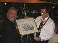 Lord Mayor's Visit -  The Club was presented with a painting of the Dragon Boat Festival from Rotarian a Savage Bill Phillips.