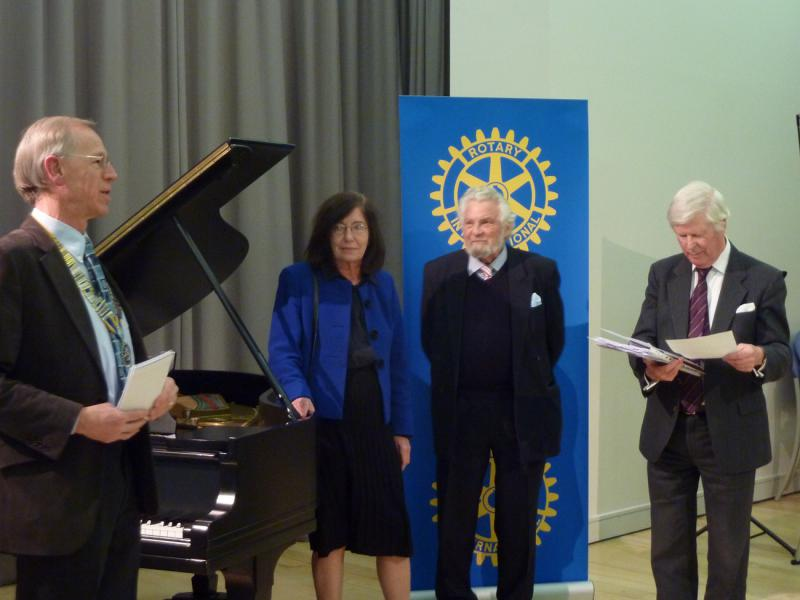 Feb 2013 Cambridge area Rotary Young Musician of the Year - Leys School, Cambridge  CB2 7AD - President Mike with Judges announcing the overall competition winners