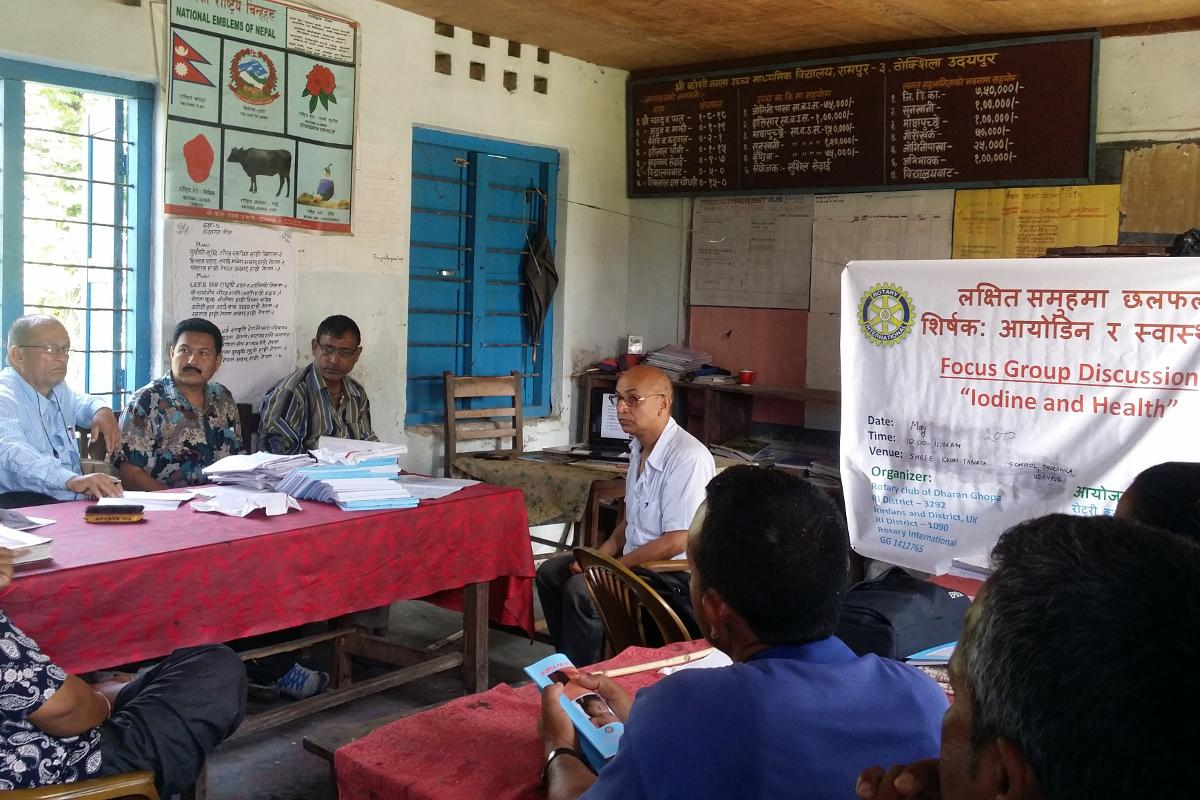 Preventing Iodine Deficiency Disease in Nepal - Focus group discussion on iodine and health among school teachers and community leaders at Koshi Janata School.