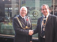 Lord Mayor's Visit -  The Lord Mayor thanked the Club's President, Roger Harper, back on dry land after breakfast.