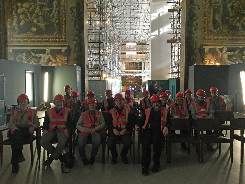 Visit to the Painted Ceiling Greenwich - Our group with the scaffolding in the background