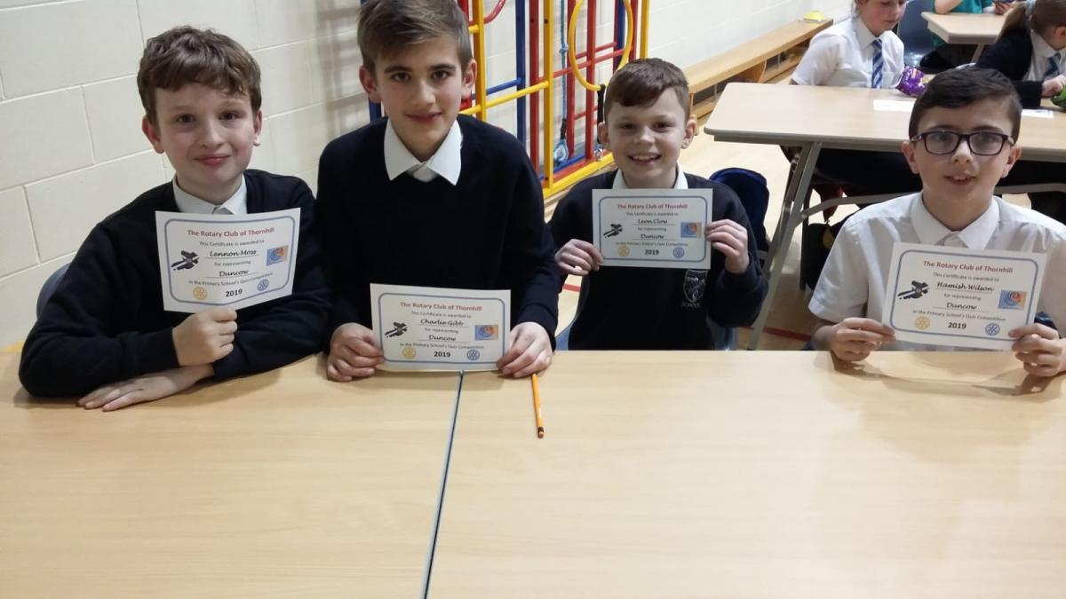 Rotary Primary School Quiz Club Heat 2019 - Duncow Primary School Team