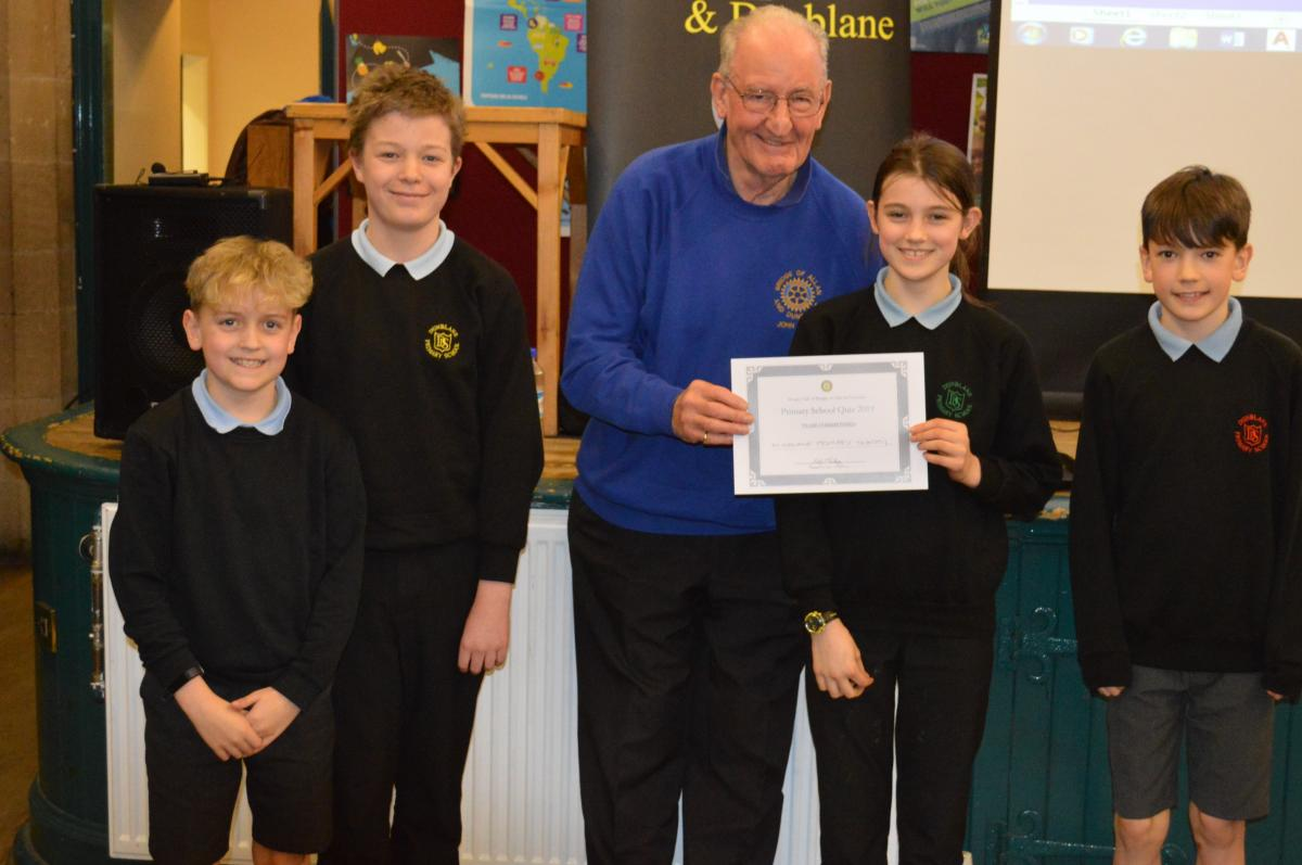 Primary School Quiz 8 March @Cathedral Hall Dunblane 15.30 - Dunblane team with certificate