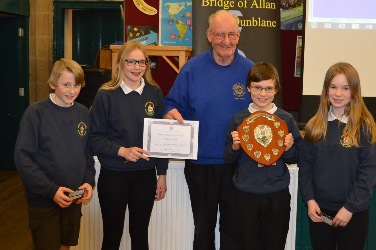 Primary School Quiz 8 March @Cathedral Hall Dunblane 15.30 - Newtpon Primary School team with their winners trophy.