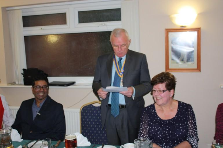 Hospital Consultant from India visits Blackpool South Rotary Club - President Pat greeting Kannane and Pat gave a humorous account of the history of Pondicherry which Kannane really enjoyed.
