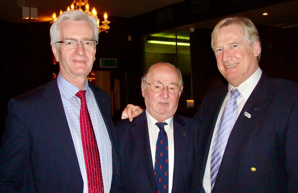 Our Club, our history and our Rotarians - The late PastPresident Bruce Dowling (centre) also had a record of Rotary service extending over 30 years. In this photograph can be seen Honorary Member Jörn Finken and Honorary Member Tony Rickard.