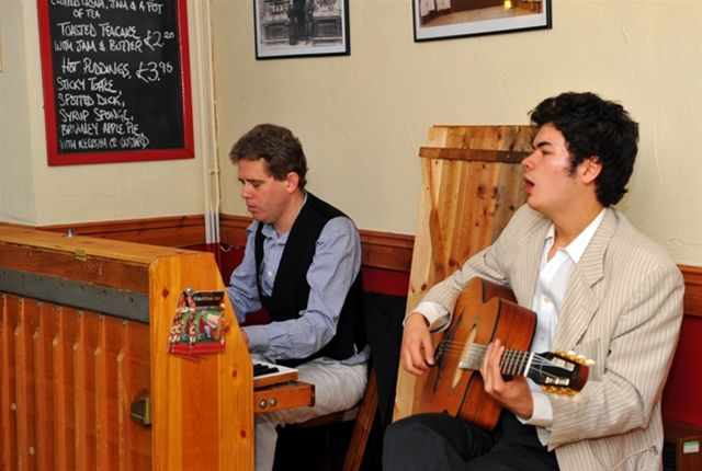 Chippy Jazz 2010 - Nick gill (left) and Jake Gill in the Old Mill Coffee Shop.