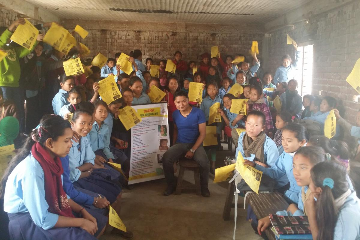 Preventing Iodine Deficiency Disease in Nepal - Distribution of materials to school children, with an awareness programme on iodine and health at Basaha School