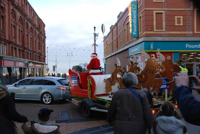 SANTA VISITS THE HOUNDSHILL CENTRE, BLACKPOOL - He's turning into Bank Hey Street.