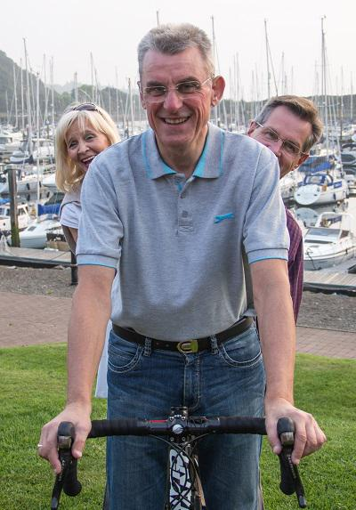 David Attwood's cycle ride  - Greenock President Anne Hill and Gourock president Alex Murphy join in the spirit of the event