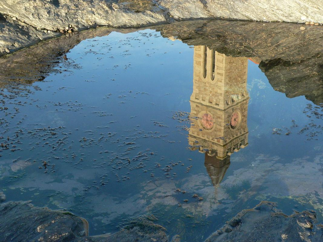 2016-17 Young Photographer Competition Results - Sithney Community Primary School, RC of Cober Valley - It is a reflection of Porthleven clock tower in a rock pool