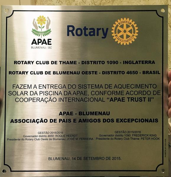 Joint International Project - Rotary Blumenau Oeste - Brazil - Recognition for the joint effort