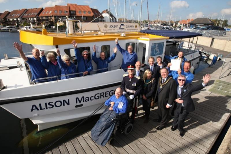 SOLENT DOLPHIN. Alison MacGregor wins Queen's Award for Voluntary Service. - Also present were crew and the Chairmen of Hampshire C.C. and NFDC among others.