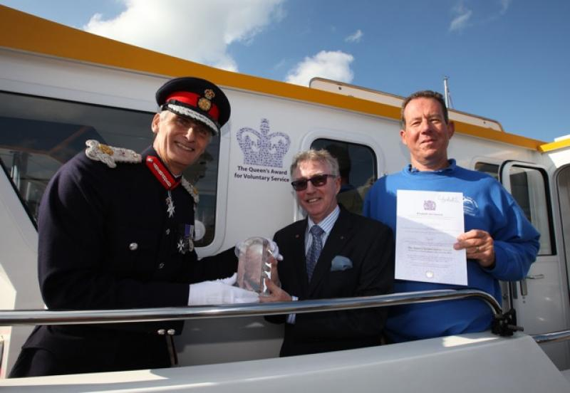 SOLENT DOLPHIN. Alison MacGregor wins Queen's Award for Voluntary Service. - The Lord-Lieutenant Mr Nigel Atkinson Esq with the Solent Dolphin's President Rotarian Alan Blair MBE and the Chairman Captain Nigel Bassett.