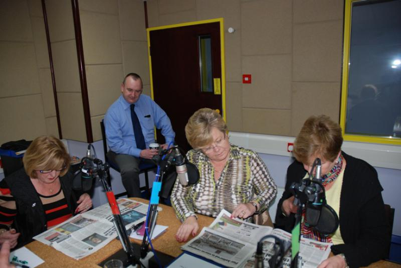 THE TALKING NEWSPAPER TEAM - Anne Hind,Jacqui Longden and Anne Eason with Alf Clempson looking on.