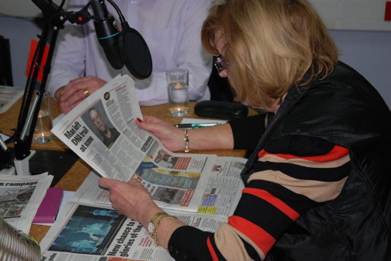 THE TALKING NEWSPAPER TEAM - Anne reading the news from The Gazette.
