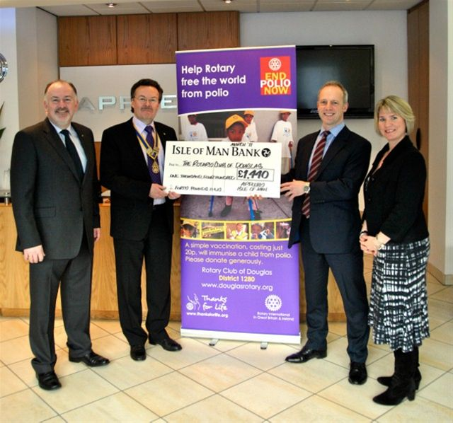 End Polio Now - President Richard Corkill and Rotarian Kevin Kneen receiving a cheque from Appleby for