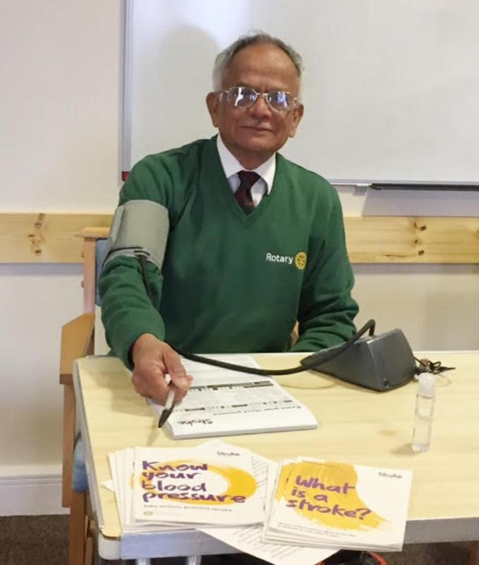 Know Your Blood Pressure Day - Dr Ashok Harshey takes time out to check his own blood pressure during Know Your Blood Pressure Day