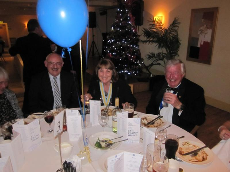 BLACKPOOL SOUTH ROTARY CLUB 2013  CHARTER DINNER.  - Assistant District Governor Margaret Lund (Centre) and it's all smiles!