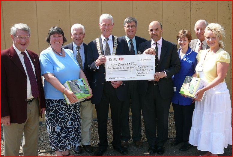 John Reed  - Presenting a cheque to the diabetes unit of the Queen Elizabeth Hospital