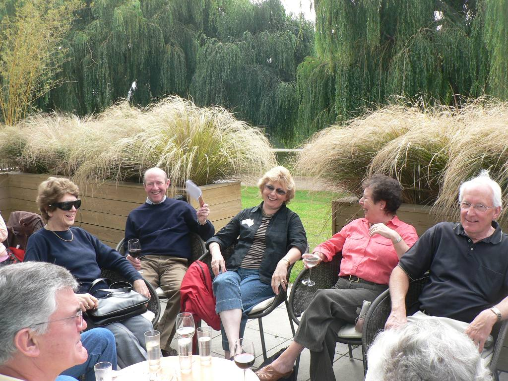 Australian Group Friendship Exchange - Basking in near 'tropical' conditions during pre lunch drinks Key Theatre Peterborough