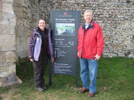 A number of people have walked part of the journey with Amy. Ian Hazel is pictured at Portchester Castle where he met up with Amy for a few hours.