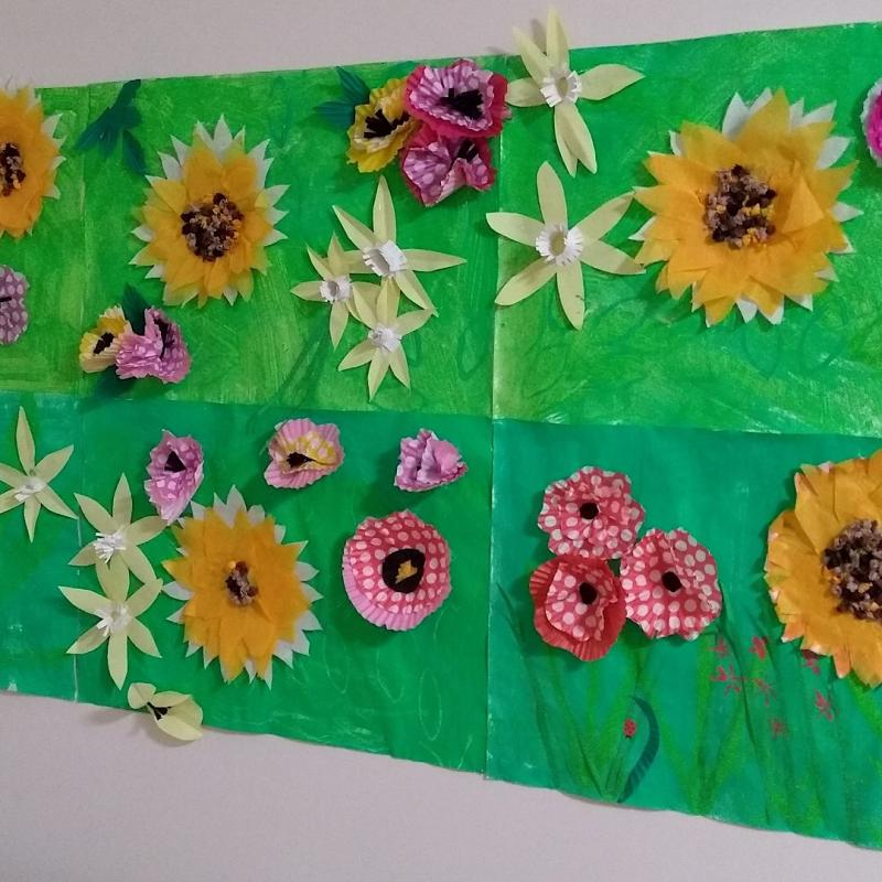 Volunteering in local Care Homes - Artwork created by residents during one of the Rotary assisted craft sessions