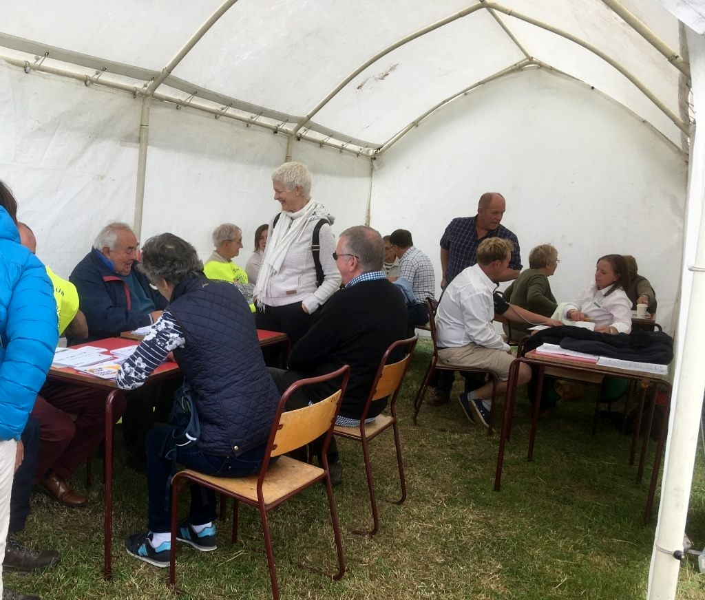 Blood Pressure Screening at Wensleydale Show 2018 - BPs being checked