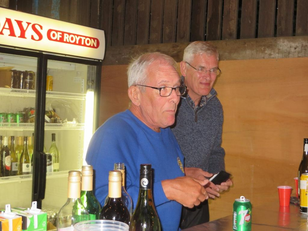 Rotary and Inner Wheel Annual BBQ - Les and John providing a welcoming bar service.