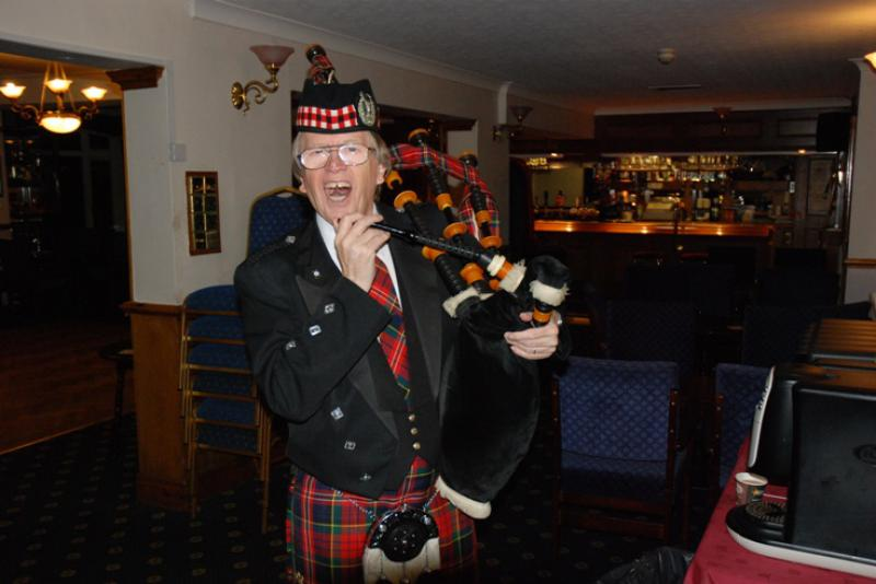 BURNS NIGHT - Barry getting ready to pipe in the haggis.