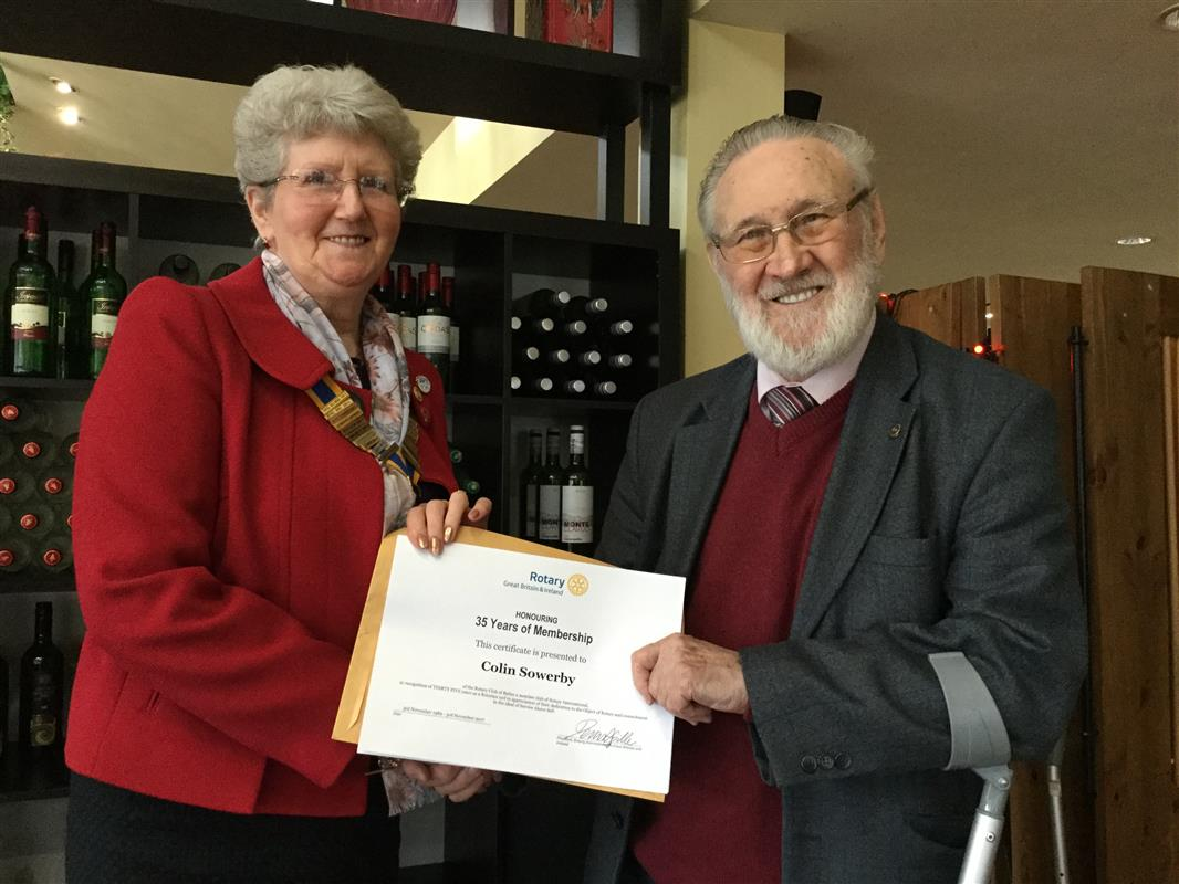Long Service Honoured - Pat with Colin Sowerby