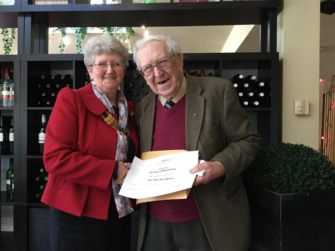 Long Service Honoured - Pat with Dr Ian Fallows