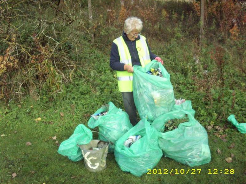 Tree planting at Beechwood - 10 bags of rubbish collected by Maggie and Mal, prior to tree planting at Beechwood