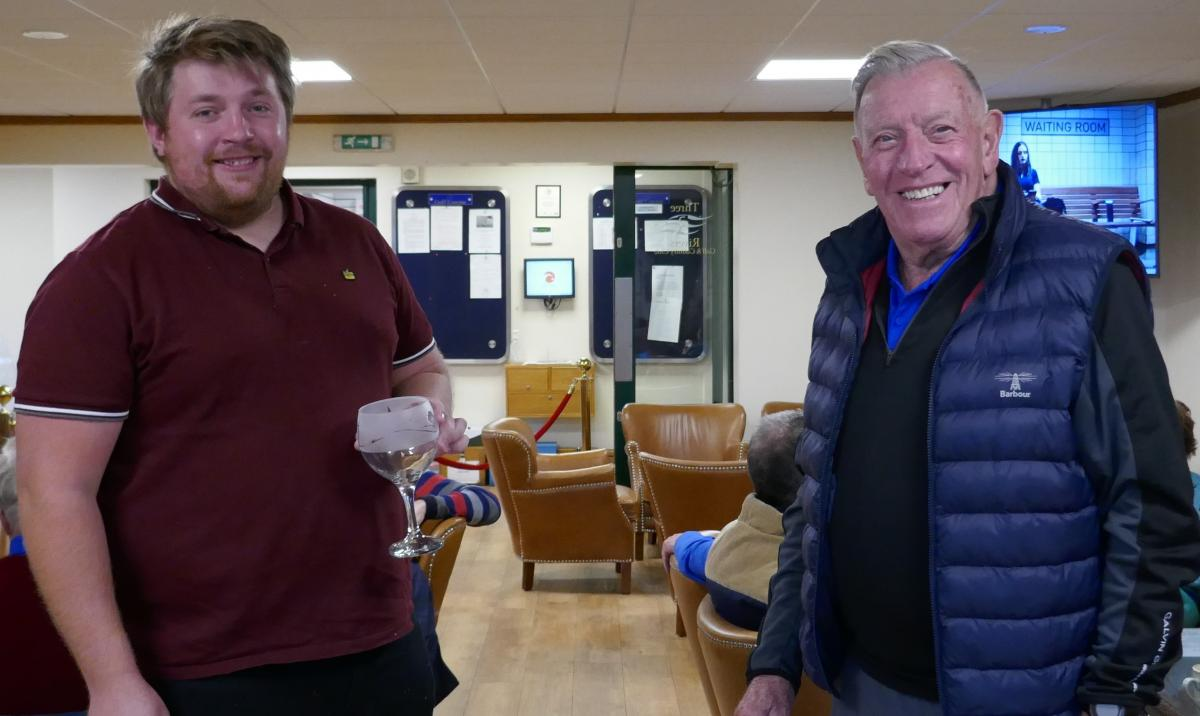 Club Golf Champinship - A Shackleton win in Antarctic Conditions - George Henson receives his prize for the Best Guest score