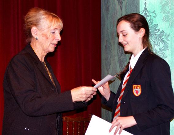 Youth Speaks Pictures 2014-15 - The award for best vote of thanks in the intermediate section was won by Mollie Cronin of St Cuthbrt Mayne.