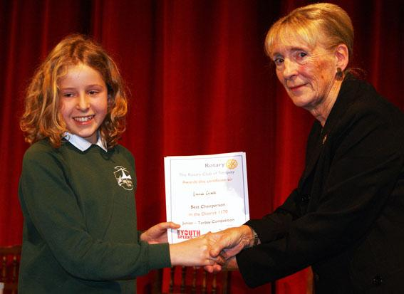 Youth Speaks Pictures 2014-15 - The award for best junior chair was won by Emma Crisell of Stoke Fleming Community Primary.