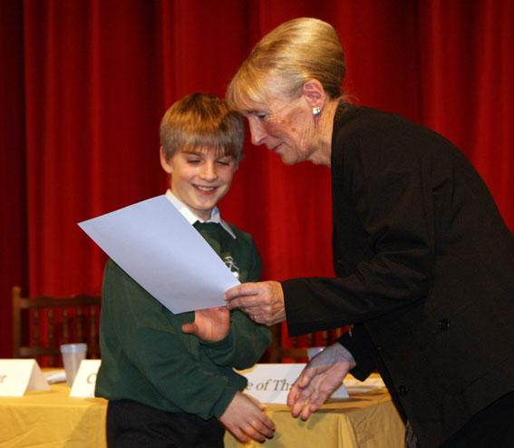 Youth Speaks Pictures 2014-15 - The best junior speaker award went to Todd Chapman of Stoke Fleming Community Primary