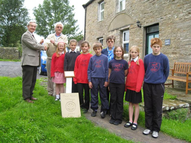 Community Projects -  Presenting prize for Best Kept Village at Askrigg