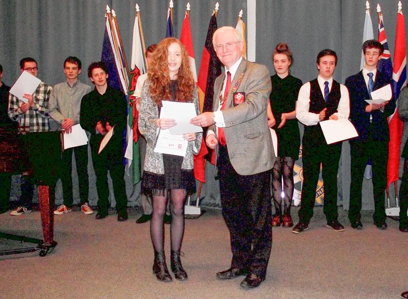 Young Musician of the Year 2015 and Festival of Youth Music Competitions 2015 - Bethan with District Governor Alistair Marquis
