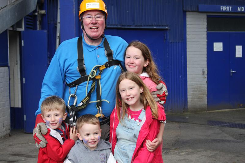 President Elect, Bill Thomas Braves the terrors of Goodison Park. - Bill Thomas Zip Wire 10