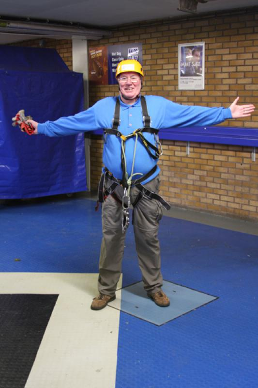 President Elect, Bill Thomas Braves the terrors of Goodison Park. - Bill Thomas Zip Wire 2